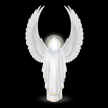 Gods guardian angel in white with wings up on black background. Archangels image. Religious concept Vector