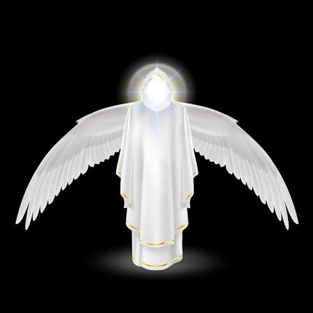 Gods guardian angel in white with wings down on black background. Archangels image. Religious concept Vector