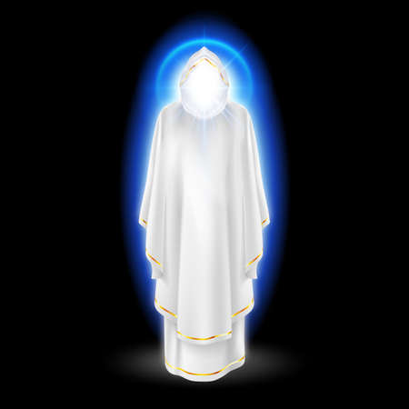 Gods guardian angel in white dress with blue radiance.  Religious concept Vector
