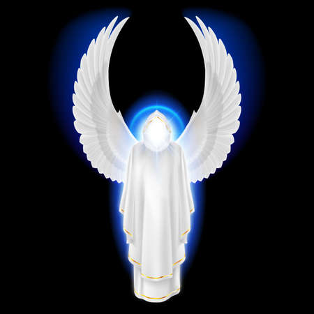 praying angel: Gods guardian angel in white dress with blue radiance on black background. Archangels image. Religious concept