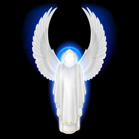 el cielo: Ángel guardián Dioses en el vestido blanco con el resplandor azul sobre fondo negro. Arcángeles imagen. Concepto religioso
