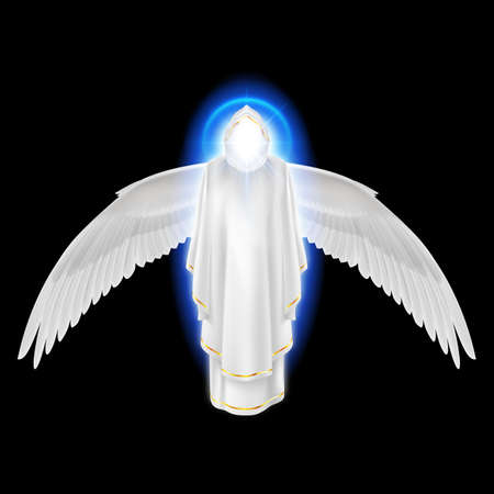 icarus: Gods guardian angel in white dress with blue radiance and wings down on black background. Archangels image. Religious concept Illustration