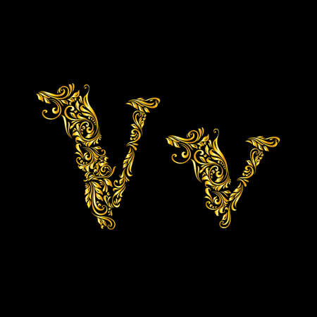 richly: Richly decorated letter v in upper and lower case.