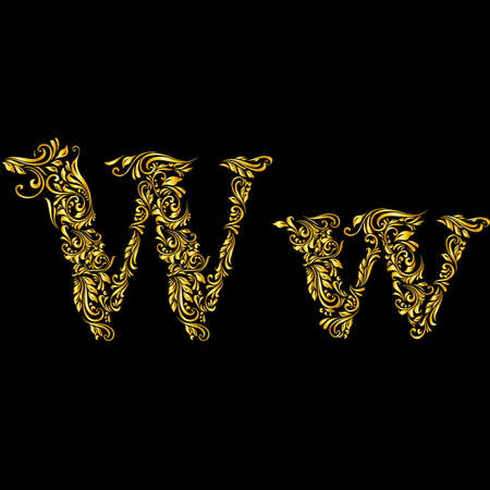 richly: Richly decorated letter w in upper and lower case.