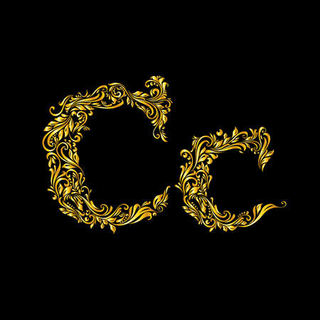 richly: Richly decorated letter c in upper and lower case on black background. Illustration