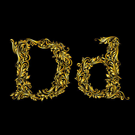 upper case: Richly decorated letter d in upper and lower case on black background.