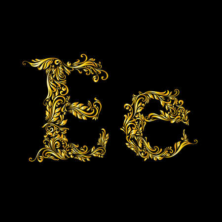 Richly decorated letter e in upper and lower case on black background. Vector