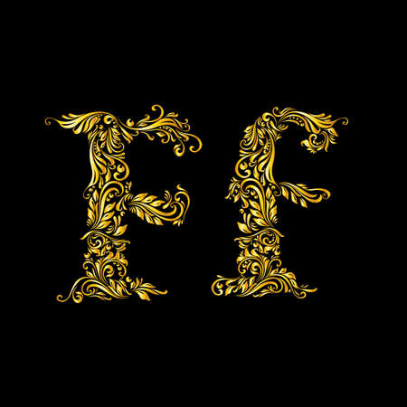 letter f: Richly decorated letter f in upper and lower case on black background. Illustration