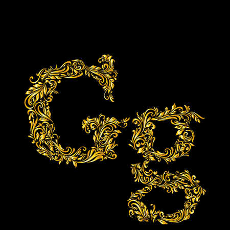 upper case: Richly decorated letter g in upper and lower case on black background.