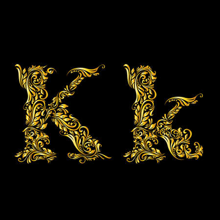 Richly decorated letter k in upper and lower case. Illustration