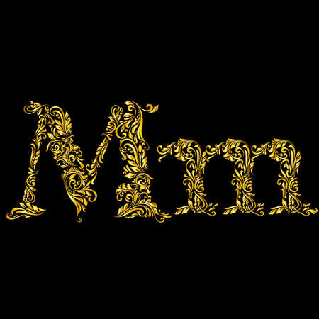 richly decorated: Richly decorated letter m in upper and lower case.