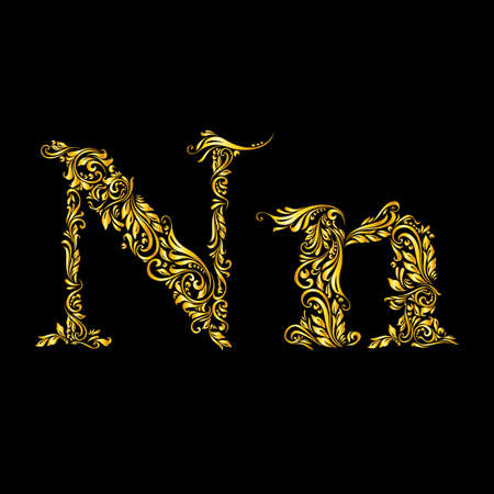 richly: Richly decorated letter n in upper and lower case.