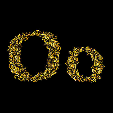 richly: Richly decorated letter o in upper and lower case.