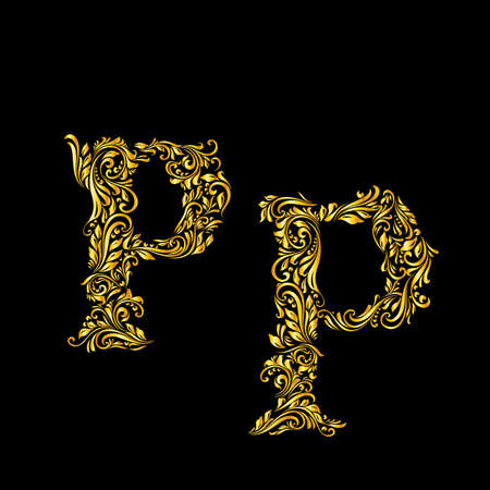 richly: Richly decorated letter p in upper and lower case.