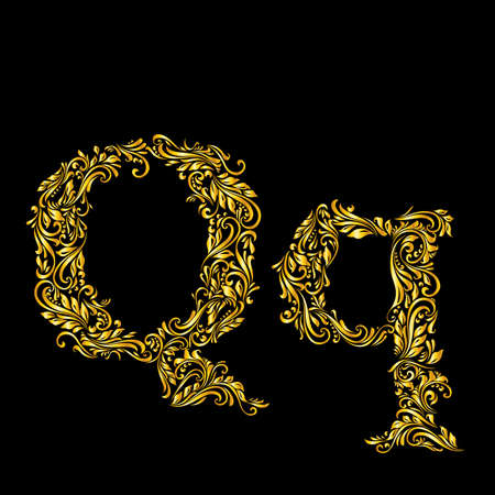 richly: Richly decorated letter q in upper and lower case.
