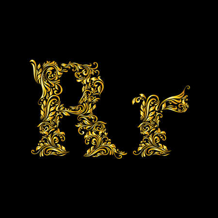 richly decorated: Richly decorated letter r in upper and lower case.