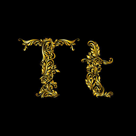 richly decorated: Richly decorated letter t in upper and lower case.