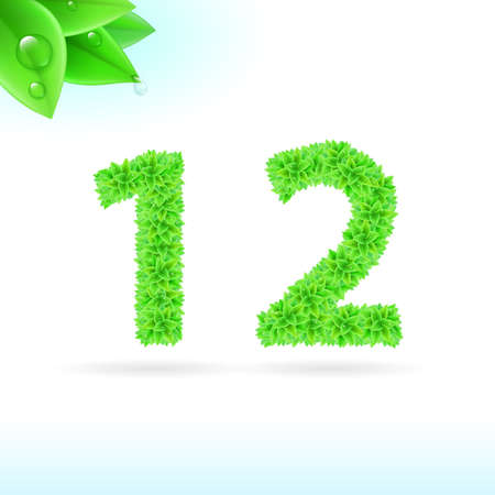 serif: Sans serif font with green leaf decoration on white background. 1 and 2 numerals Illustration