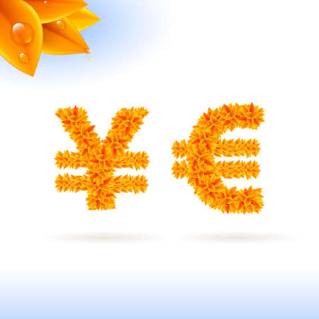 sans: Sans serif font with autumn leaf decoration on white background. Yen and euro sign