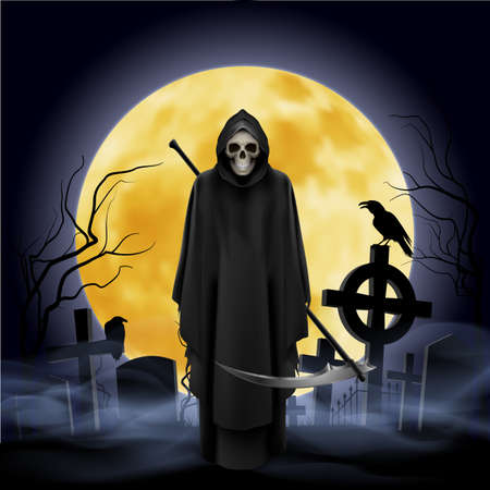 Ghost with a scythe on the graveyard. Night. Vector