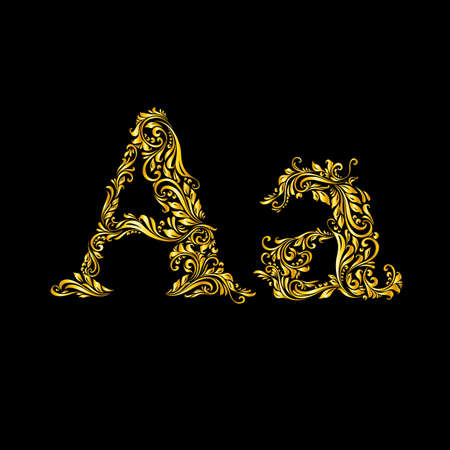 alphabetical order: The patterned letter A on the black background.