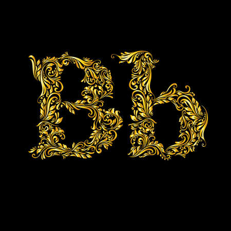 alphabetical order: The patterned letter B on the black background.