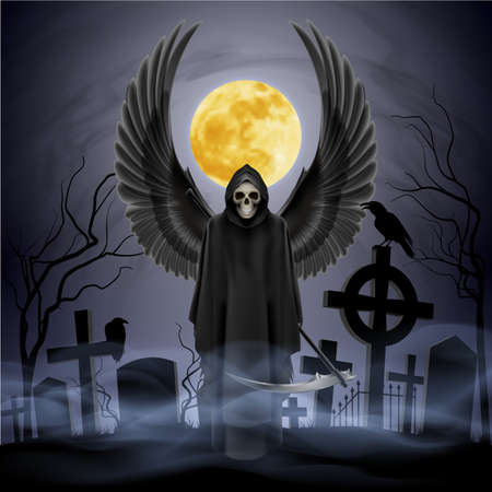death symbol: Angel of death on the night cemetery.