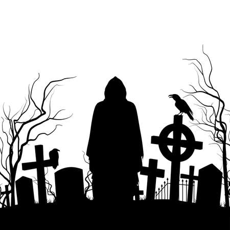 hedge trees: Silhouette of the cemetery on the white background Illustration