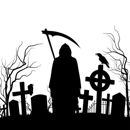 scythe: Silhouette of the cemetery on the white background.