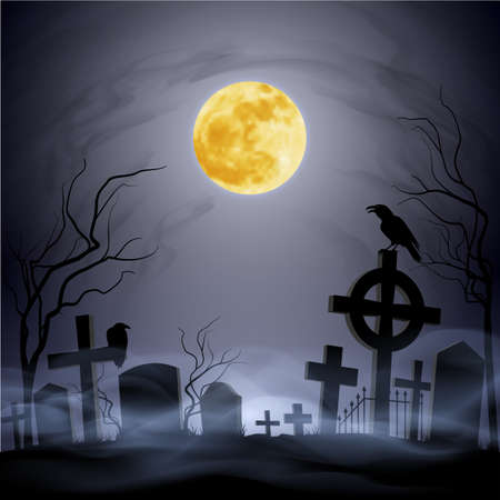 graveyard: Graveyard at the night. Yellow moon. Headstone. Fog.
