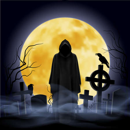moonlit: The black ghost on the cemetery. Moon on the background.