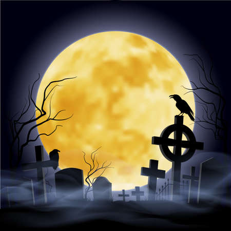 cemetry: Cemetry at the night. Yellow moon. Headstone. Illustration