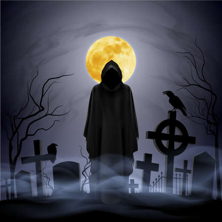 moonlit: The black ghost on the cemetery. Yellow moon.