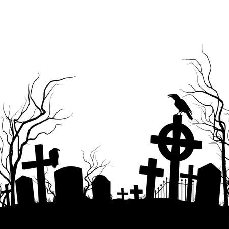 Cemetery. Raven sitting on the tombstone. Black and white Vector