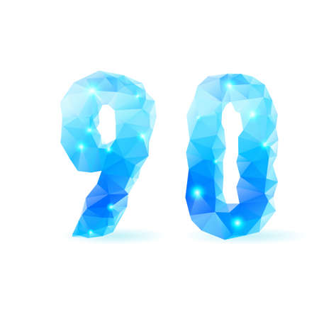 0 9: Shiny blue polygonal font. Crystal style 9 and 0 numerals Illustration