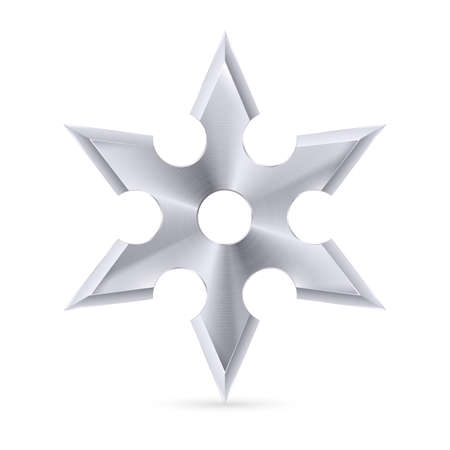 Metal shuriken with six tips on the white background Vector