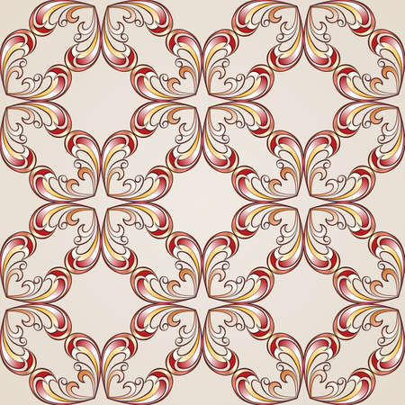 Abstract floral pattern made of cross style elemets in red, pink and yellow shades on pastel rose pink background Vector