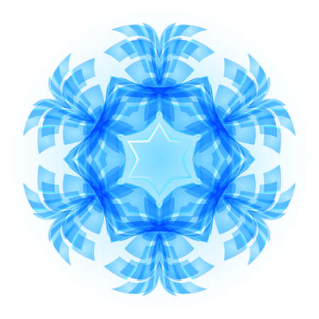 Patterned blue snowflake with the white background.