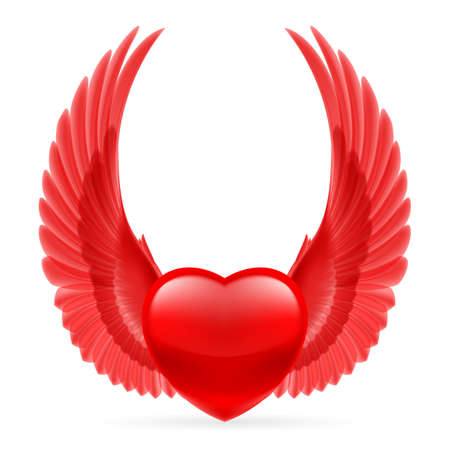 Red heart with bright red wings  Vector