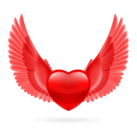 Red heart with bright red raised wings. Vector