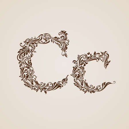 upper case: Handsomely decorated letter c in upper and lower case.