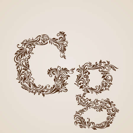 upper case: Handsomely decorated letter g in upper and lower case. Illustration