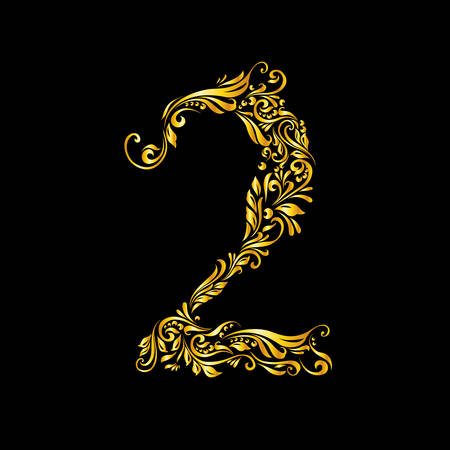 richly decorated: Richly decorated two digit on black background.