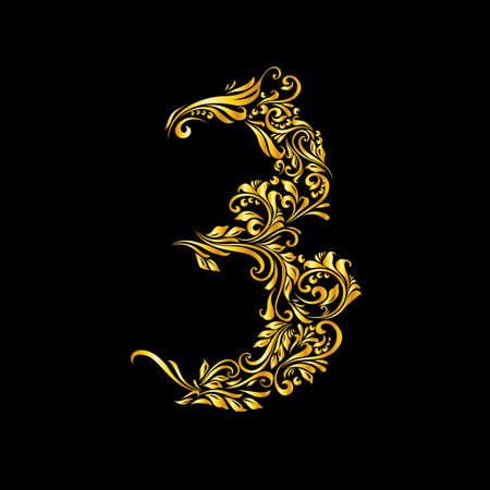Richly decorated three digit on black background. Illustration