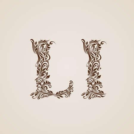 l background: Handsomely decorated letter l in upper and lower case. Illustration