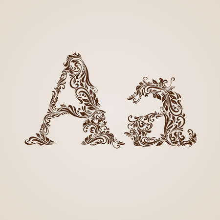 upper case: Handsomely decorated letter A in upper and lower case.