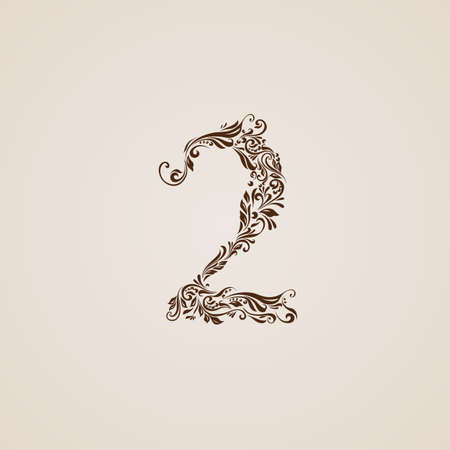 richly: Richly decorated two digit on beige background.