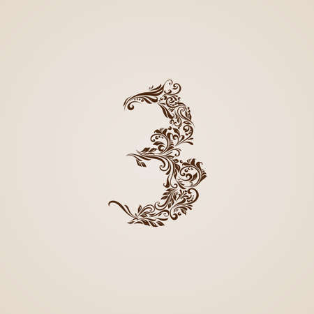 richly: Richly decorated three digit on beige background.