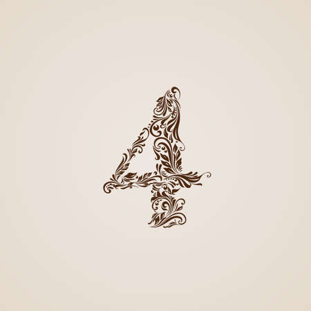 richly: Richly decorated four digit on beige background.