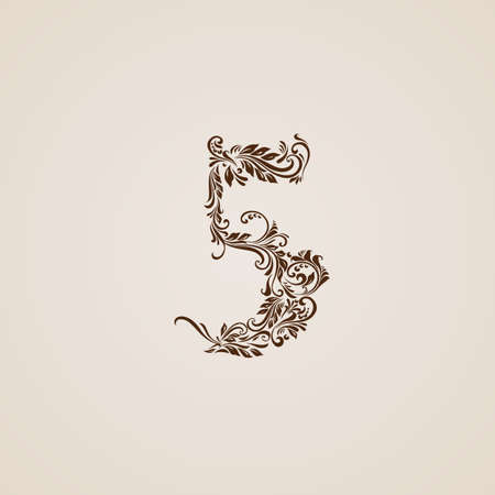 richly: Richly decorated five digit on beige background.